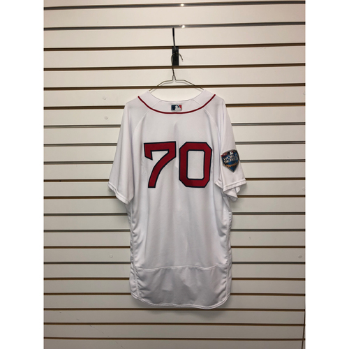Photo of Ryan Brasier Game-Used October 23, 2018 World Series Game 1 Home Jersey