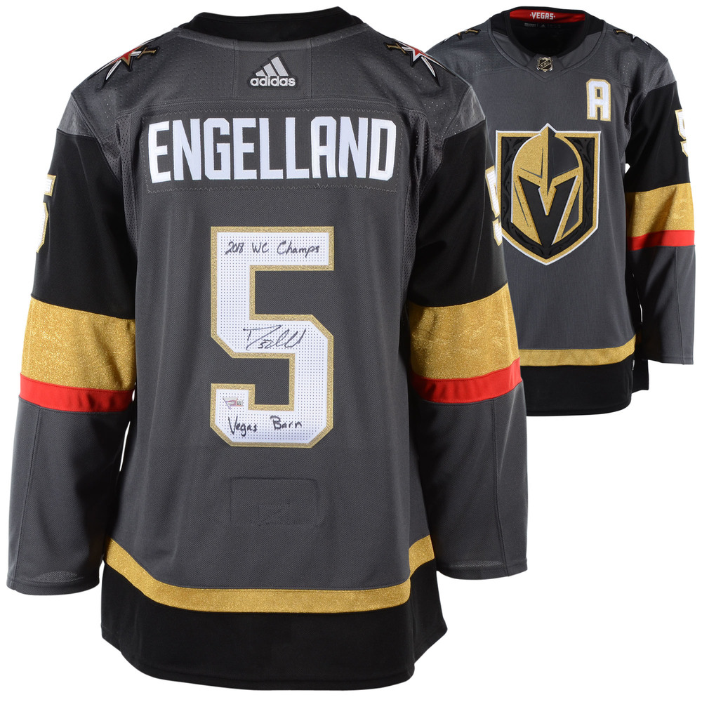2c378f5f9 Deryk Engelland Vegas Golden Knights Autographed Black Adidas Authentic  Jersey with Multiple Inscriptions