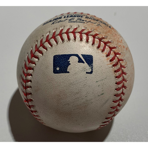 Photo of 2019 Japan Opening Day Series - Exhibition Game (Seattle Mariners at Yomiuri Giants - 3/18/19) - Game Used Baseball - Batter: Shuta Tanaka, Pitcher : Felix Hernandez - Swinging Strike