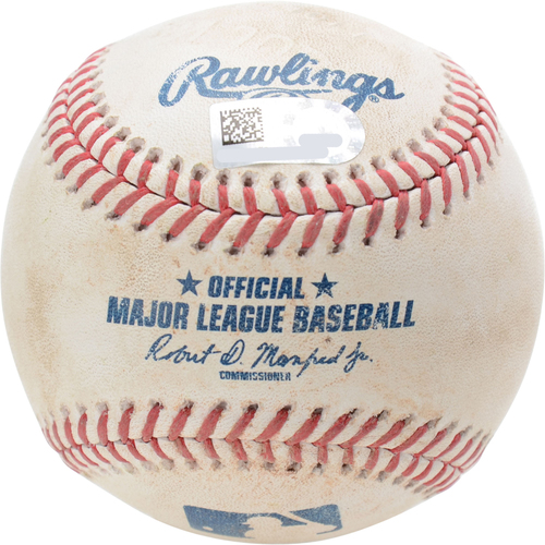 Photo of New York Yankees Game-Used Baseball: Pitcher: Brett Anderson, Batter: Aaron Judge, Single (Bot 3) - 8/30/19 vs. OAK