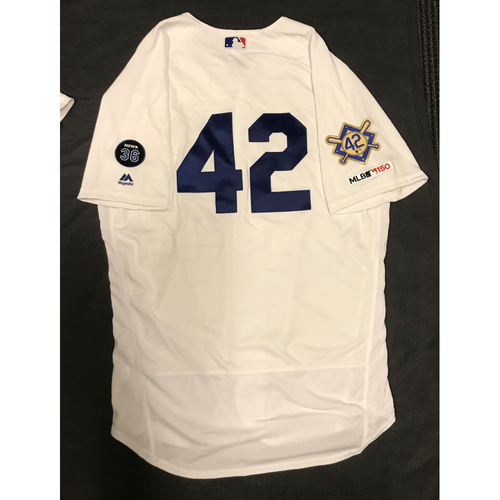Photo of 2019 Game Used Home #42 Jersey worn by #58 Rocky Gale on 4/15 Jackie Robinson Day against Cin. Dodgers 4-3 victory against Cincinnati. Size-48