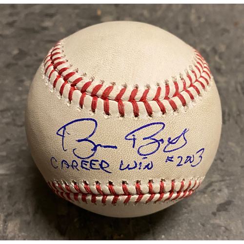 "Photo of 2019 Game Used & Autographed Inscribed Baseball - Bruce Bochy's 2,003 Career Win - Game Used on 9/26 vs. Colorado Rockies - Autographed & Inscribed ""Bruce Bochy Career Win #2003 - B-5: Tinoco to Garcia - Strikeout Swinging"