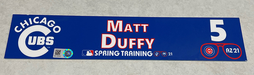 Photo of Matt Duffy 2021 Spring Training Locker Nameplate