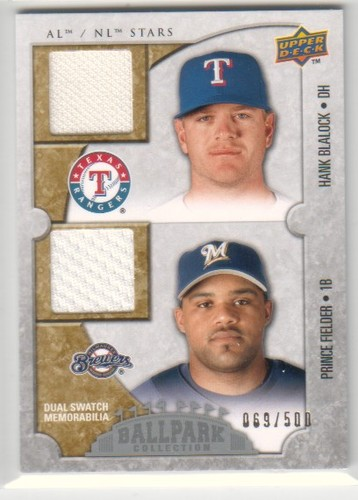 Photo of 2009 Upper Deck Ballpark Collection #103 Hank Blalock/Prince Fielder/500