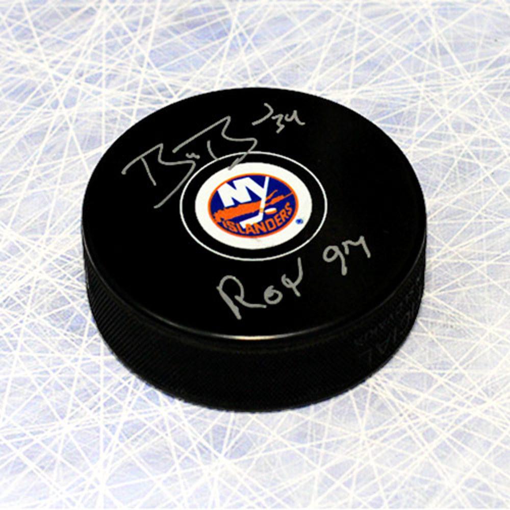 Bryan Berard New York Islanders Autographed Hockey Puck with ROY 1997 Note