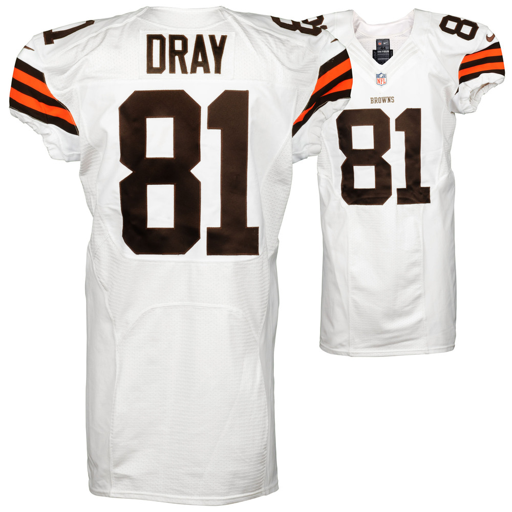 Jim Dray Cleveland Browns Game Used White #81 Jersey from the 2014 Season