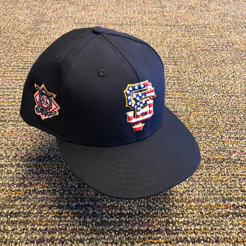 Photo of San Francisco Giants - 2018 Game-Used 4th of July Cap worn by #13 Will Smith - Size 7 3/4