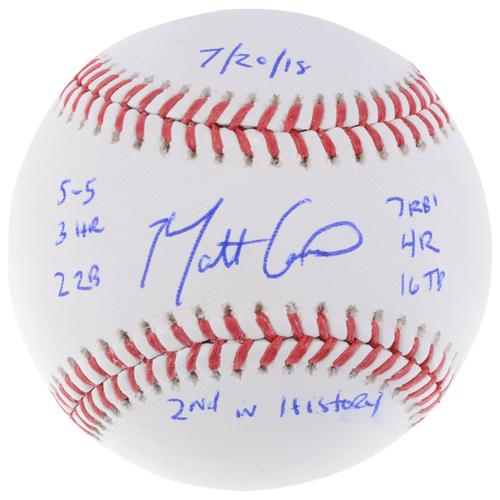 Photo of Matt Carpenter St Louis Cardinals Autographed Baseball with Multiple Inscriptions - L. E. of 13