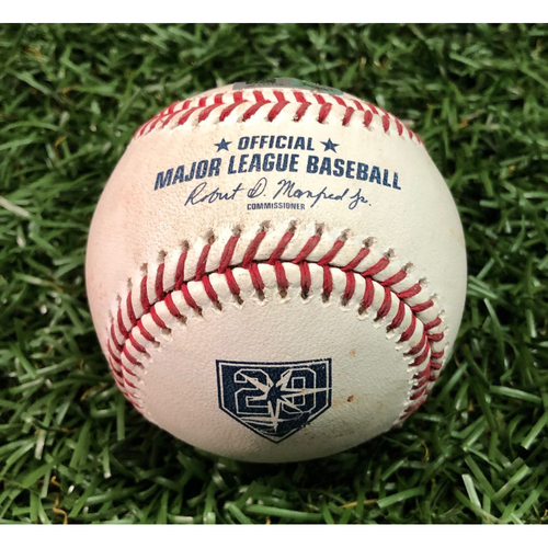 Photo of 20th Anniversary Game-Used Baseball: AL Cy Young Winner Blake Snell strikes out Yandy Diaz - September 12, 2018 v CLE