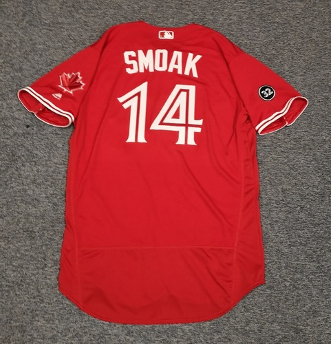 Photo of Authenticated Team Issued Canada Day Jersey - #14 Justin Smoak (2018 Season). Size 48.