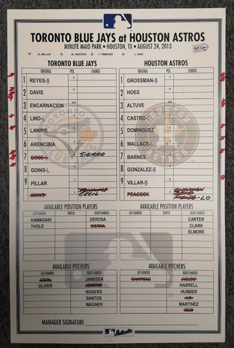Photo of Authenticated Game Used Lineup Card - August 24, 2013 at HOU: Kevin Pillar hit his 1st Career Home Run