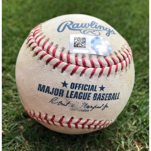 Photo of Game-Used Baseball - Elvis Andrus Double (24) - 8/21/19