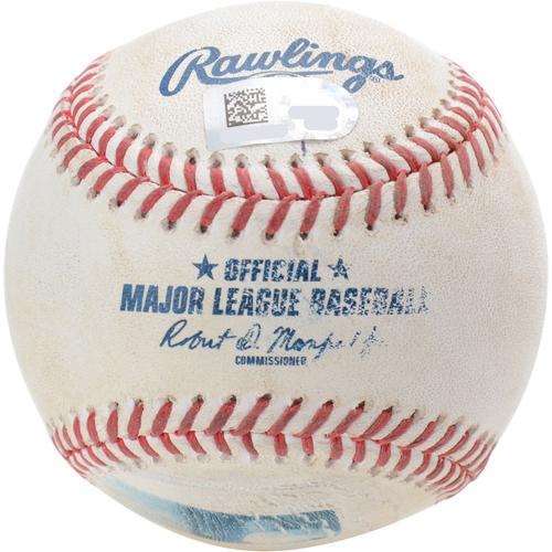 New York Yankees Game-Used Baseball: Pitcher: Masahiro Tanaka, Batter: Franmil Reyes, Strikeout (Top 5) - 8/16/19 vs. CLE