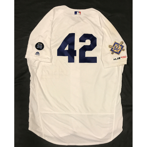 Photo of 2019 Game Used Home #42 Jersey worn by #63 Pitcher Yimi Garcia on 4/15 Jackie Robinson Day against Cin. Dodgers 4-3 victory against Cincinnati. Size-50