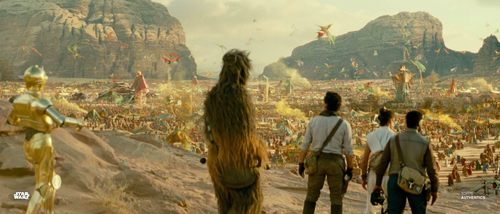 Rey, Poe Dameron, Finn, C-3PO, and Chewbacca