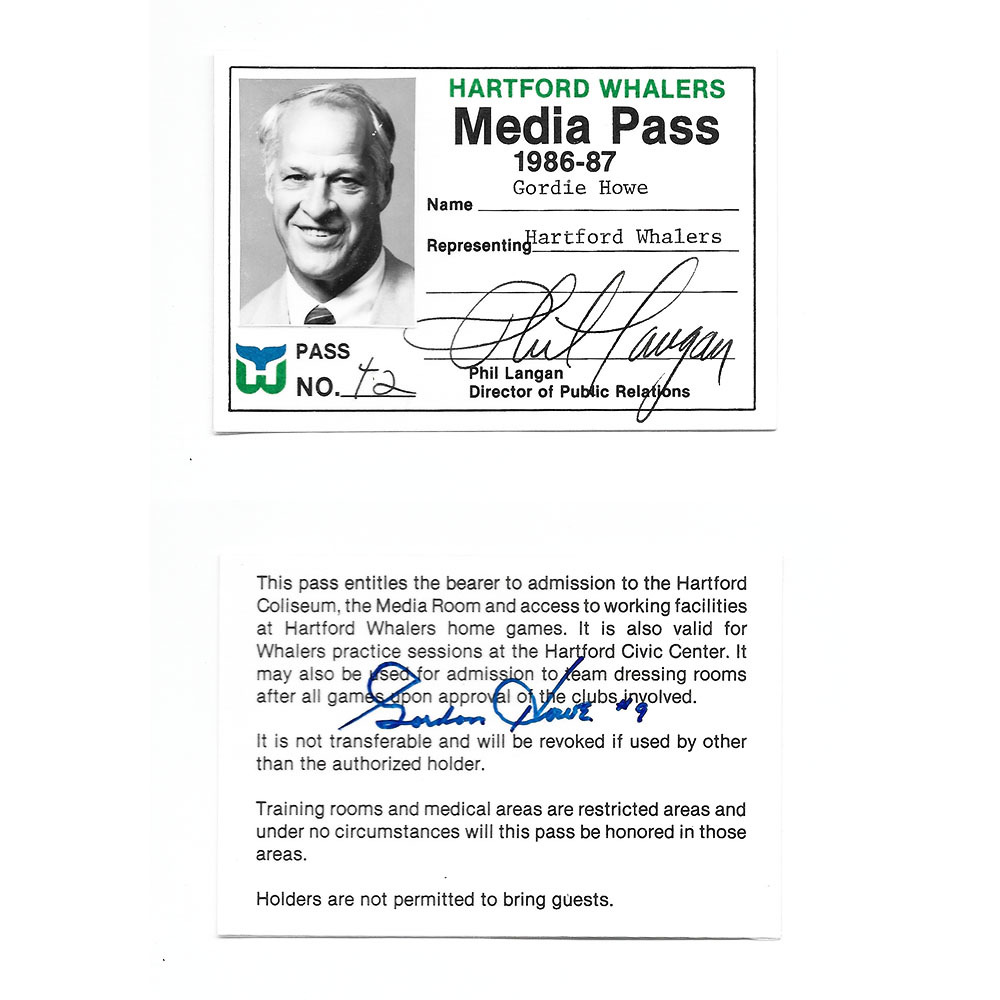 Gordie Howe's 1986-87 Hartford Whalers Media Pass - Autographed