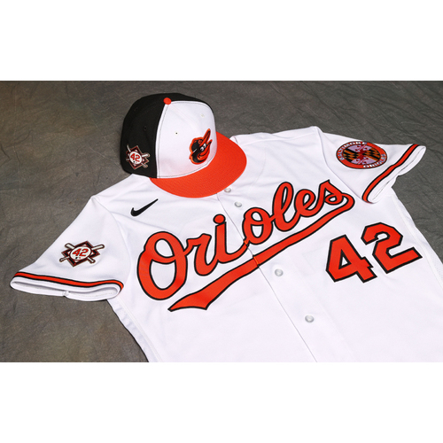 Photo of Don Long Autographed, Game-Used Jackie Robinson Day Jersey and Cap