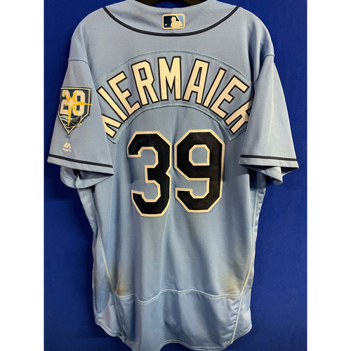 Game Used Columbia Blue Jersey: Kevin Kiermaier (R, 2H, RBI) - September 9, 2018 v BAL