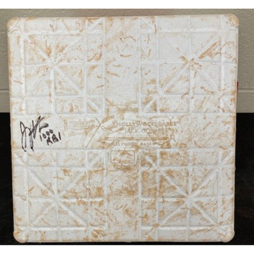 Photo of Joey Votto *Game-Used, Autographed & Inscribed* Third Base (Innings 1-4) -- Used On Field for Joey Votto's 1,000th Career RBI -- SD vs. CIN on 06/30/2021
