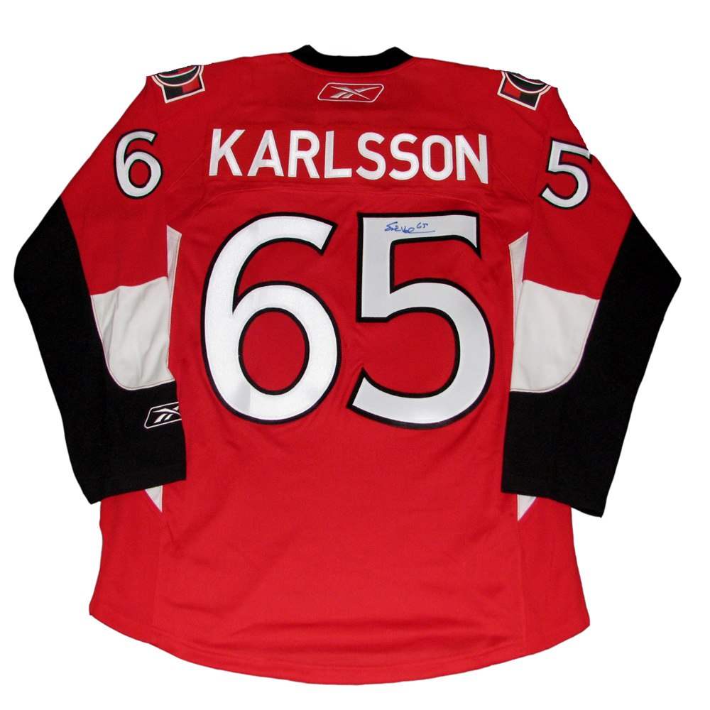 brand new 22ae3 01366 ERIK KARLSSON Signed Ottawa Senators Red RBK Jersey - NHL ...