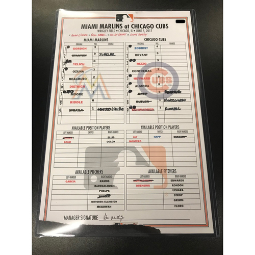 Game-Used Lineup Card: Marlins vs Cubs 6/5/17