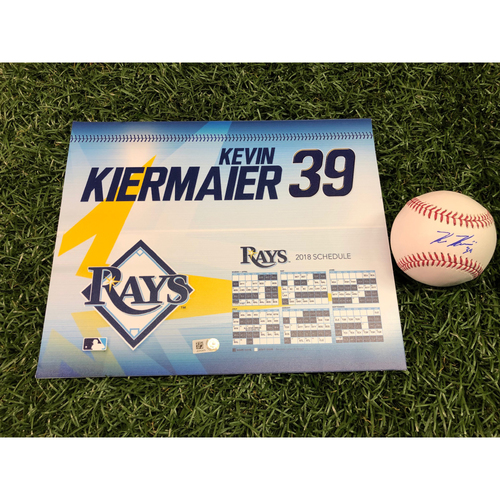 2018 Game-Used Locker Tag and Autographed Baseball: Wilson Defensive Player of the Year Kevin Kiermaier