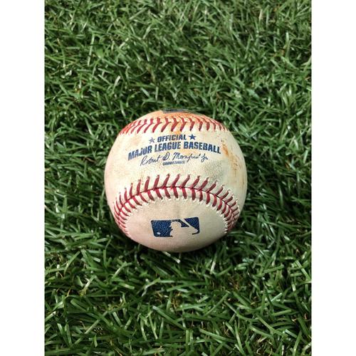 Photo of Game Used Baseball: Nate Lowe single (#5 Career Hit) and Avisail Garcia single off Merrill Kelly - May 6, 2019 v AZ