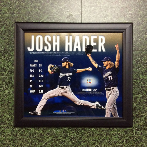 "Photo of Josh Hader 2018 Commemorative ""NL Reliever of the Year"" Framed Piece with Game-Used Baseball Swatch - Limited Edition #1 / 50"