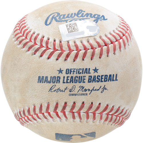 Photo of New York Yankees Game-Used Baseball: Pitcher: Adam Ottavino, Batter: Robbie Grossman, Strikeout (Top 9) - 9/1/19 vs. OAK