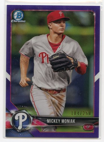 Photo of 2018 Bowman Chrome Prospects Purple Refractors #BCP210 Mickey Moniak 184/250