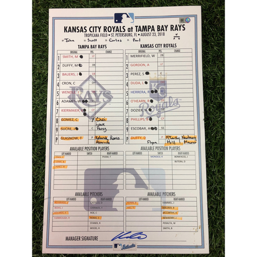 Photo of Game Used Lineup Card: Rays Walk-Off on Error - August 23, 2018 v KC