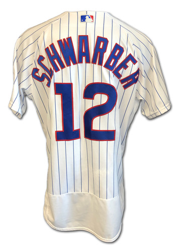 Photo of Kyle Schwarber Game-Used Jersey -- Reds vs. Cubs -- 9/8/2020 -- Size 46