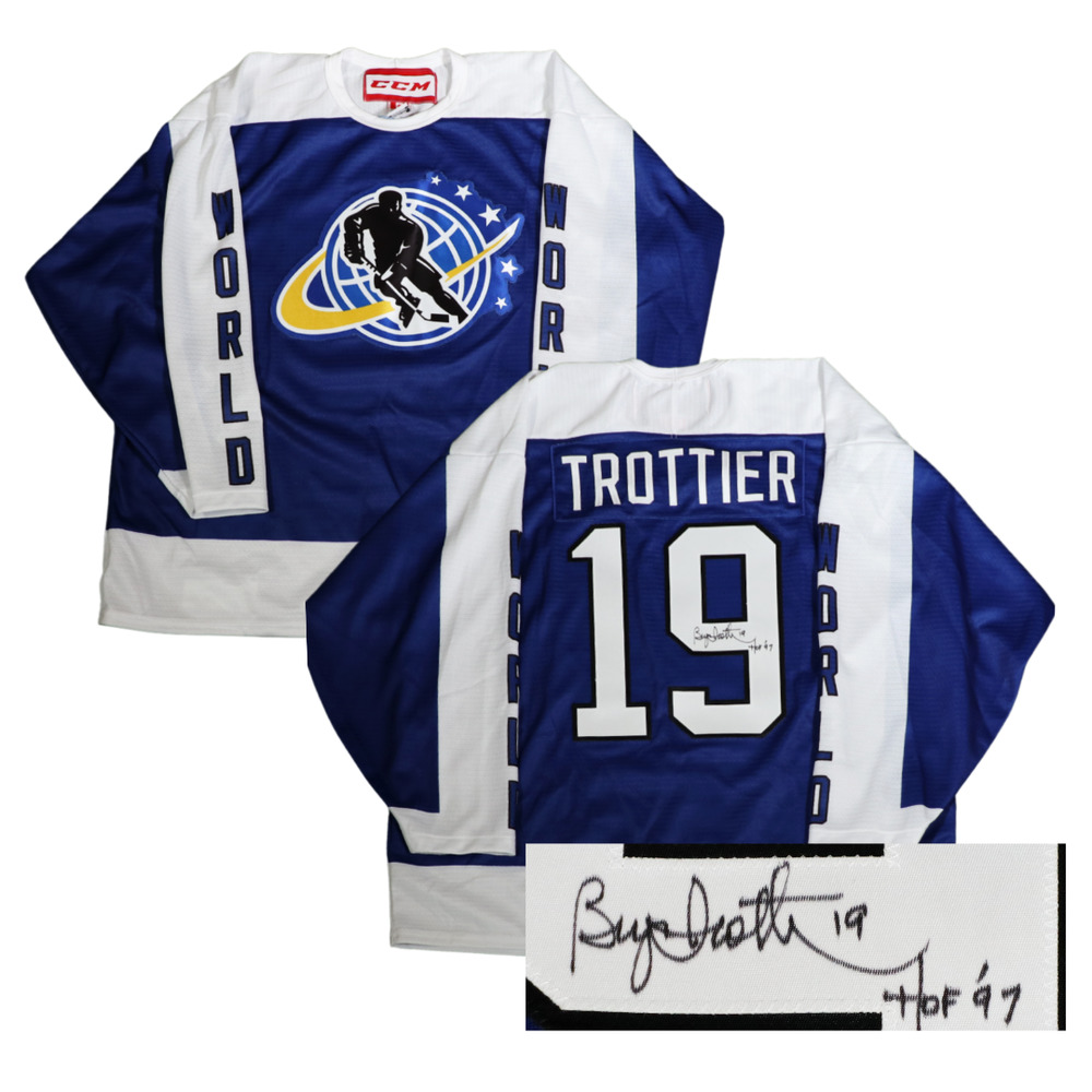 Autographed Bryan Trottier Game-Issued 2015 Legends Classic Jersey