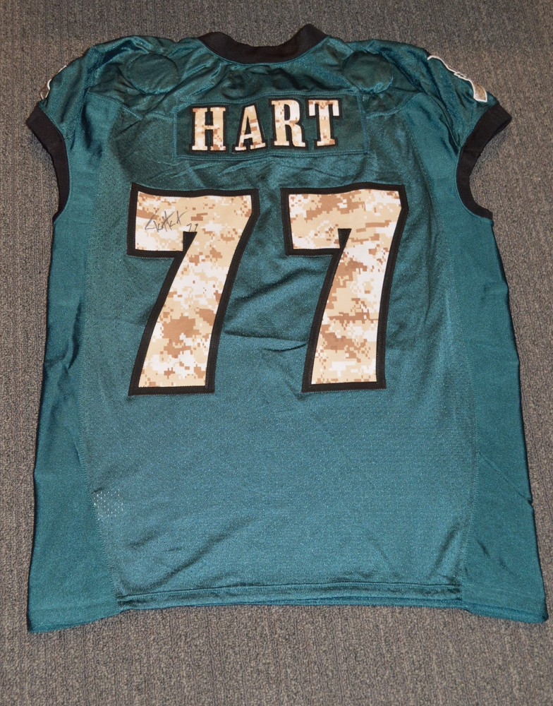 EAGLES - Taylor Hart SALUTE TO SERVICE SIGNED PRACTICE WORN JERSEY NOVEMBER  2017 WITH CAMO NUMBERS 01700a704