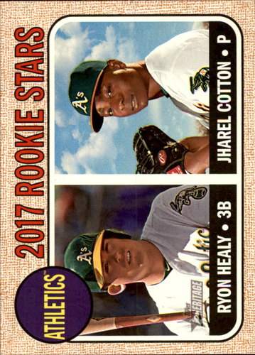 Photo of 2017 Topps Heritage #199 Jharel Cotton RC/Ryon Healy Rookie Card