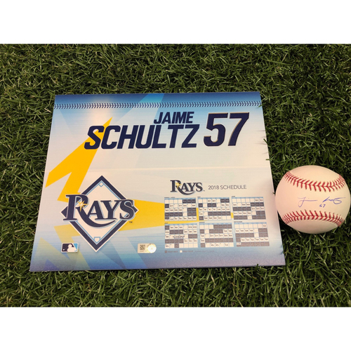 Photo of 2018 Game-Used Locker Tag and Autographed Baseball: Jaime Schultz