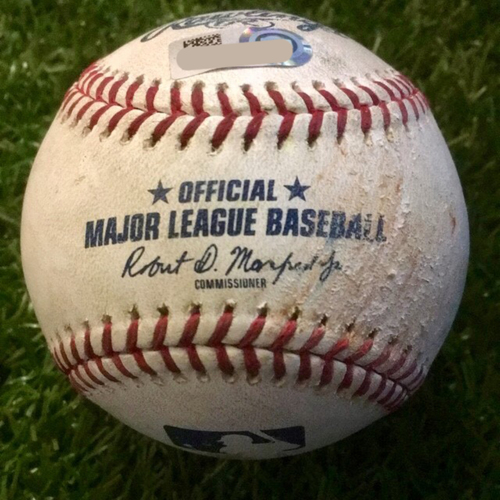 Photo of Game-Used Baseball: Gio Urshela 146th Career Hit and Austin Romine 198th Career Hit and 110th & 111th Career RBIs (NYY @ KC - 5/25/19 Game 2)