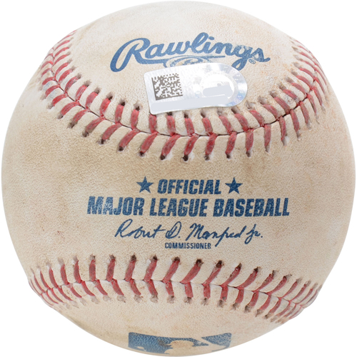 Photo of New York Yankees Game-Used Baseball: Pitcher: Taylor Guerrieri, Batter: Austin Romine, RBI Double (Bot 6) - 9/4/19 vs. TEX