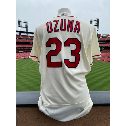 Photo of Cardinals Authentics: Team Issued Marcell Ozuna Home Ivory Alternate Jersey