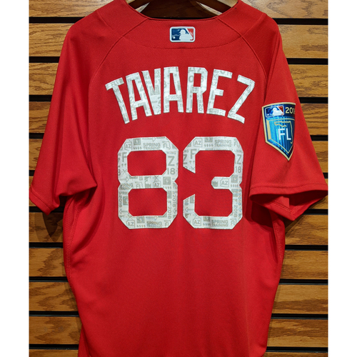 Photo of 2018 Spring Training Aneury Tavarez #83 Team Issued Red Jersey