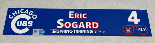 Photo of Eric Sogard 2021 Spring Training Locker Nameplate