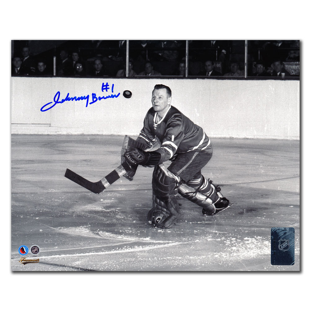 Johnny Bower Toronto Maple Leafs GLOVE SAVE B&W Autographed 8x10