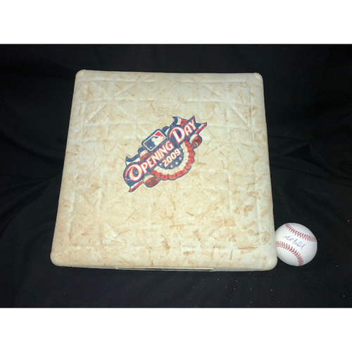 Photo of Game-Used Base from Opening Day 2009 and Mark Buehrle Autographed Baseball