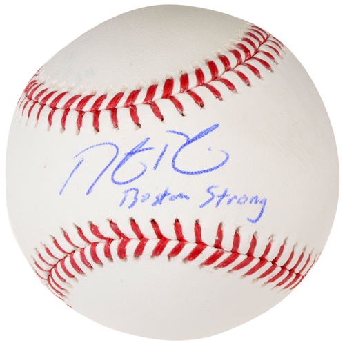 Photo of Dustin Pedroia Boston Red Sox Autographed Baseball with Boston Strong Inscription