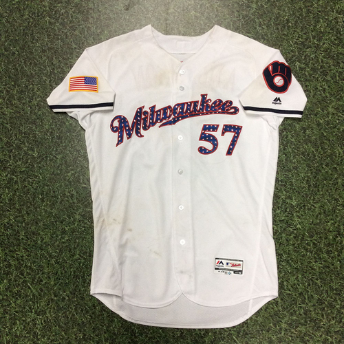 Photo of Chase Anderson 2018 Game-Used Stars & Stripes Jersey - 6.1 IP, 3 H, 1 ER, 5 SO, No Decision