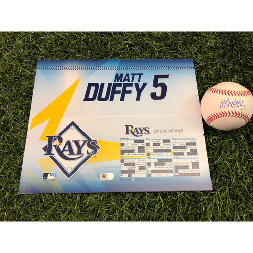 2018 Game-Used Locker Tag and Autographed Baseball: Matt Duffy