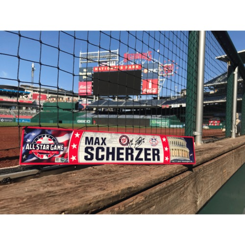 Photo of Max Scherzer Autographed 2018 All Star Game Locker Tag