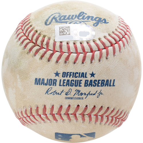 Photo of New York Yankees Game-Used Baseball: Pitcher: Ty Blach, Batters: Gleyber Torres (Single), Brett Gardner (2-RBI Triple) - Bot 1 - 8/12/19 vs. BAL