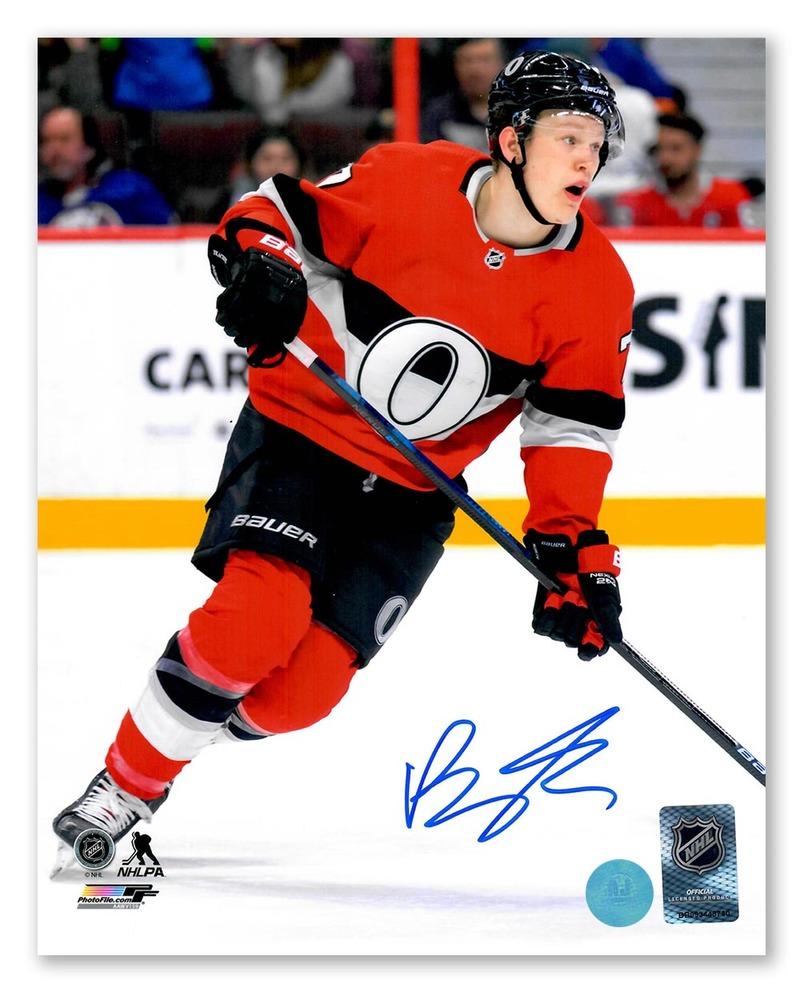 Brady Tkachuk Ottawa Senators Autographed O Jersey 8x10 Photo