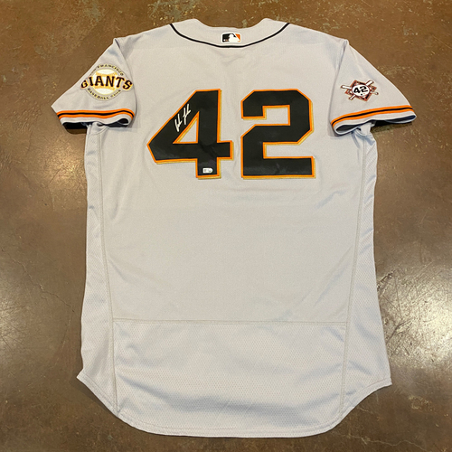 Photo of 2020 Jackie Robinson Day Jersey - Team Issued & Autographed - #41 Wilmer Flores - Size 46